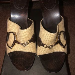 Gucci Horse bit Tan and Gold Sandal